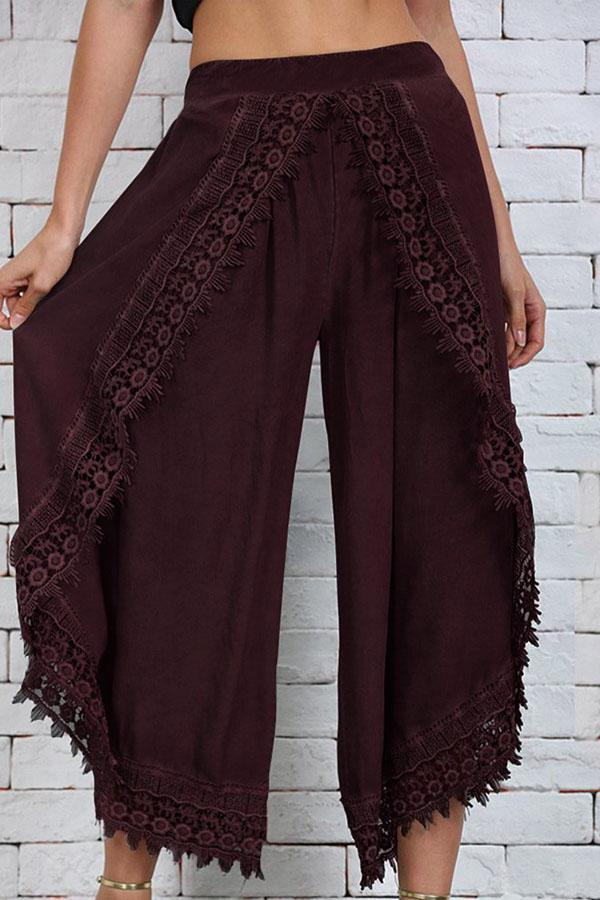 Lace-paneled Wide-leg Pant