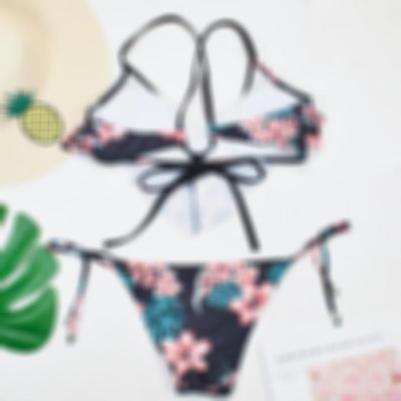 Swimming Floral Layer Top and Tied Bottom