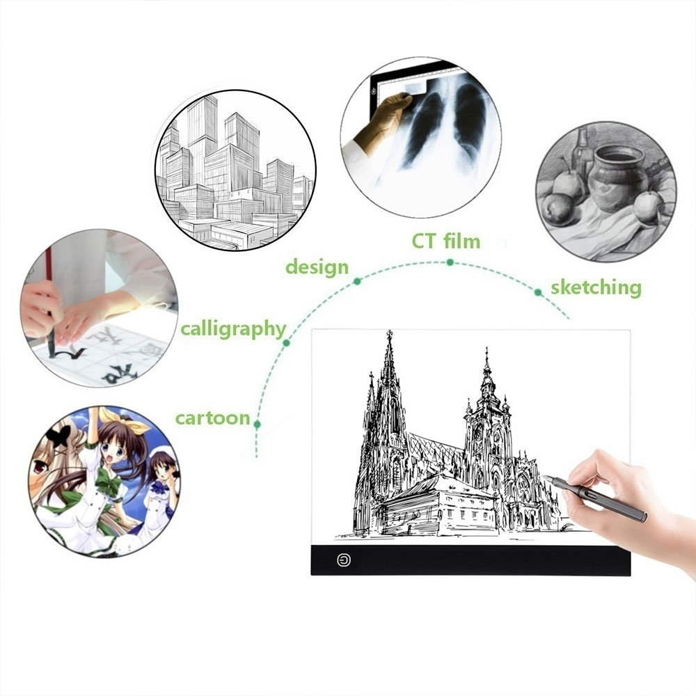 Super Slim A3/A4/A5 Adjustable LED Copy Board IP65 Waterproof Drawing Tablet with USB Cable