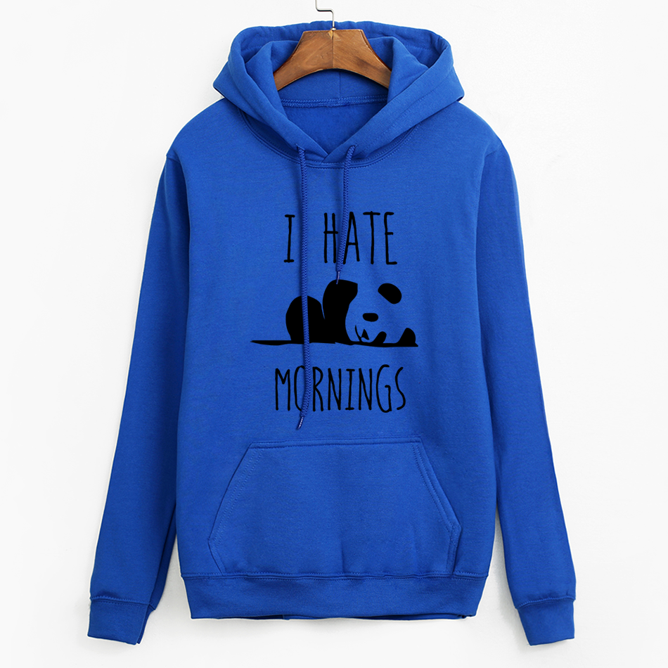 Tracksuits Fashion Women Long Sleeve Hoodies Fleece Hoodies Panda I HATE MORNINGS Sweatshirt Female