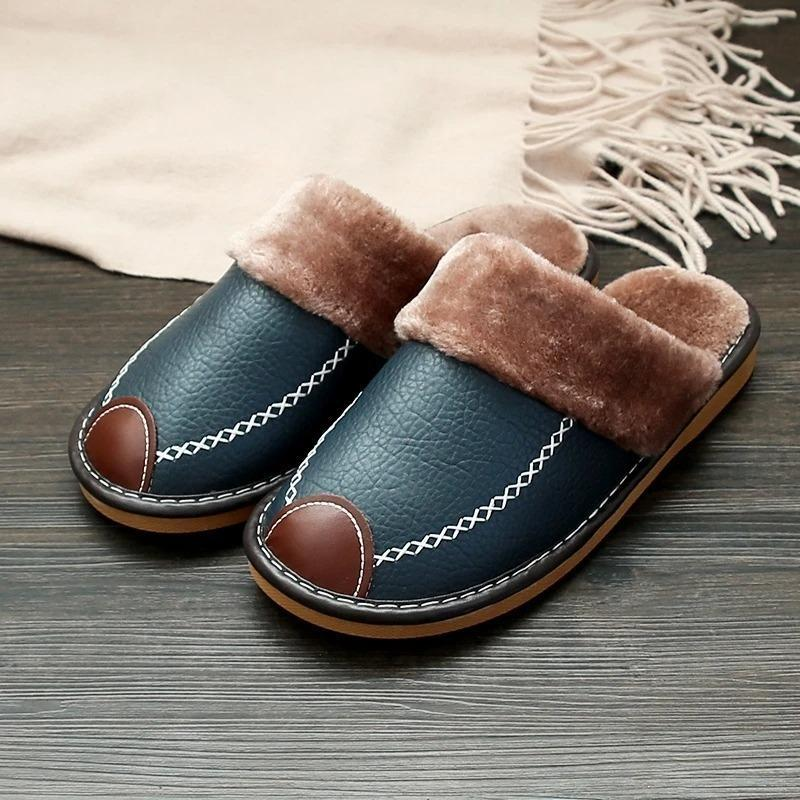 😍2020 winter super comfortable leather waterproof and warm slippers👡