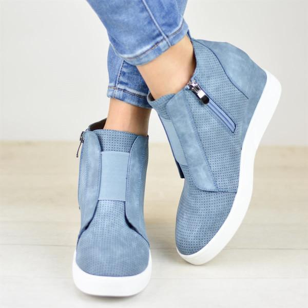 Lemmikshoes Zipper Wedge Breathable Sneakers