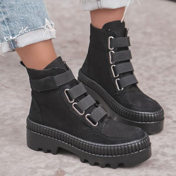 Faddishshoes Textile Rubber Thick Sole Boots