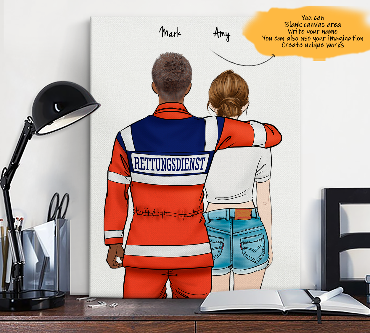 He is My Friend! Hand Draw Custom Canvas-Print Gift AmbulanceDriverGermany-Dark&CowboyGirl