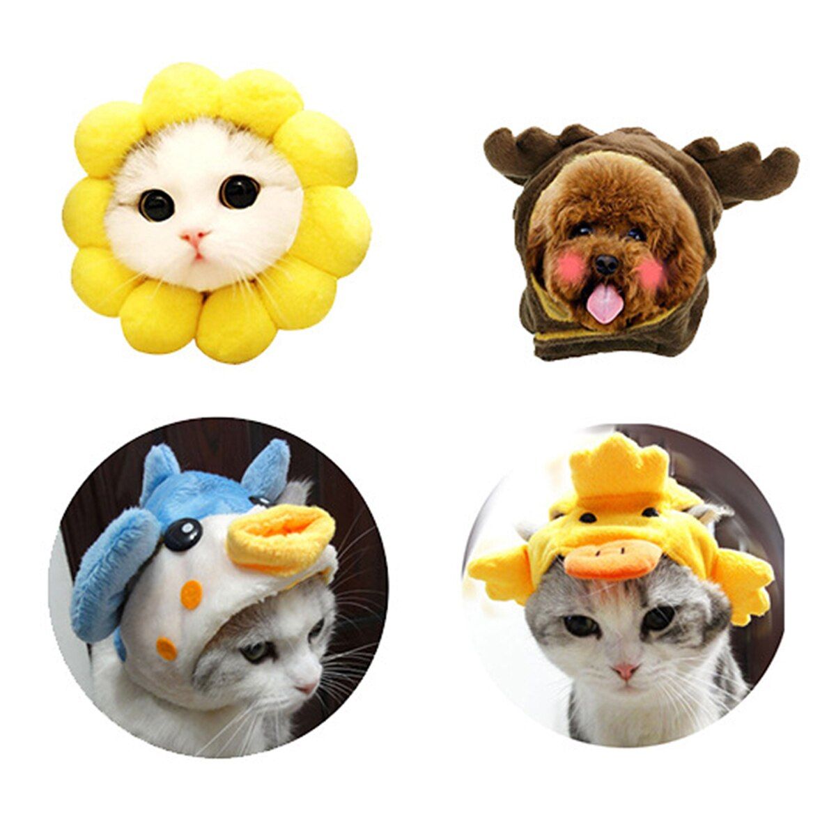 Pet Funny Dog Cat Hat Christmas Party Cosplay Cute Cartoon Hat Headgear for Cat Kitten Puppy Pet Supplies Accessoires Decoration