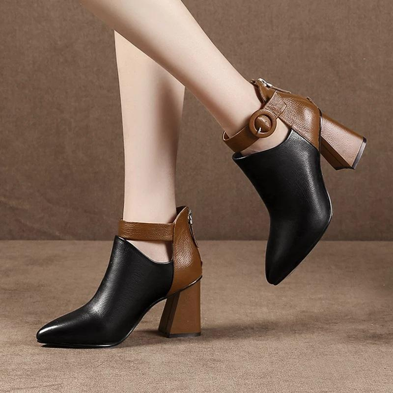 Fashion Ankle Martin Boots Pointed Toe Zipper High Heels