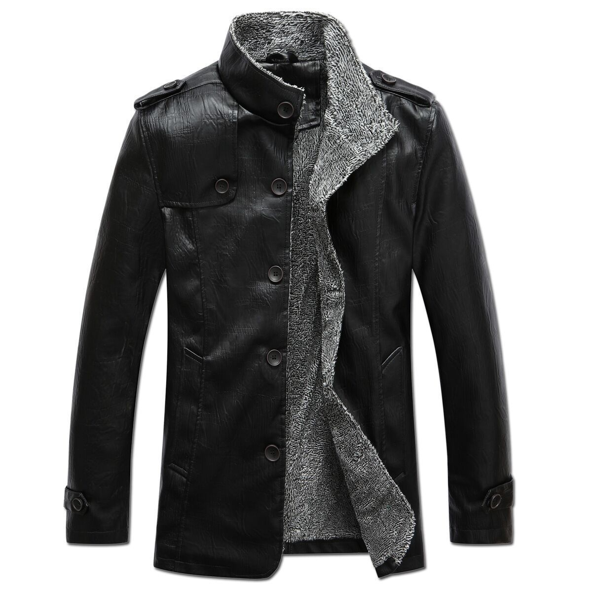 Men's stand collar thick mid-length leather jacket