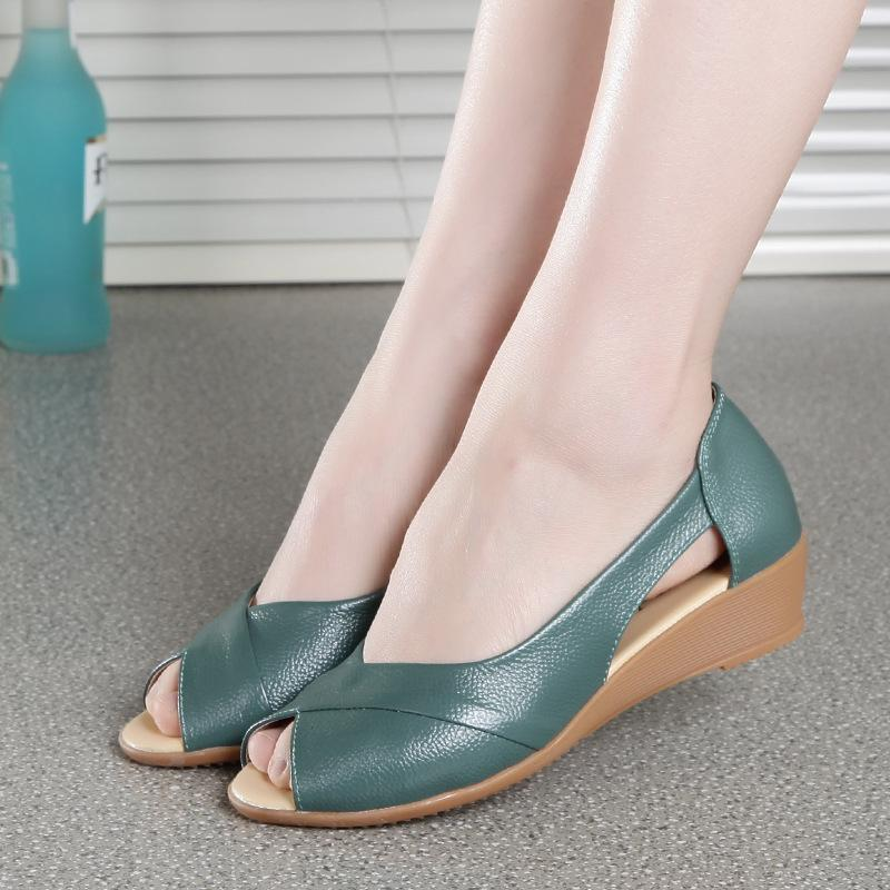 Summer style woven leather wedge heels