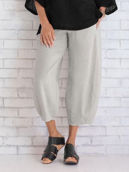 Women Wide Leg Cotton Capri Pants