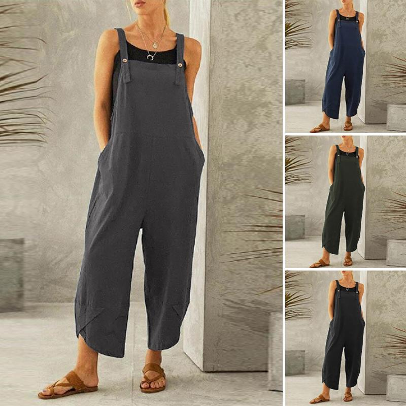 Casual cotton and linen loose suspenders pants