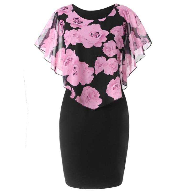Summer Plus Size Rose Printed Lace Sexy Capelet Party Fashion dress