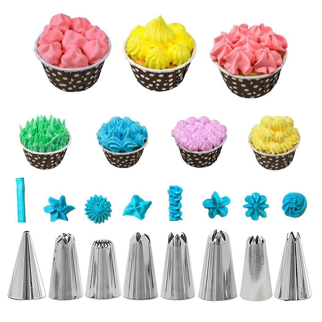 14Pcs/Set Cake Decorating Supplies Kit Kitchen Dessert Baking Pastry Supplies Reusable Confectionery Bag Silicone Icing Piping Cream Pastry Bag Nozzle DIY Cake Decorating
