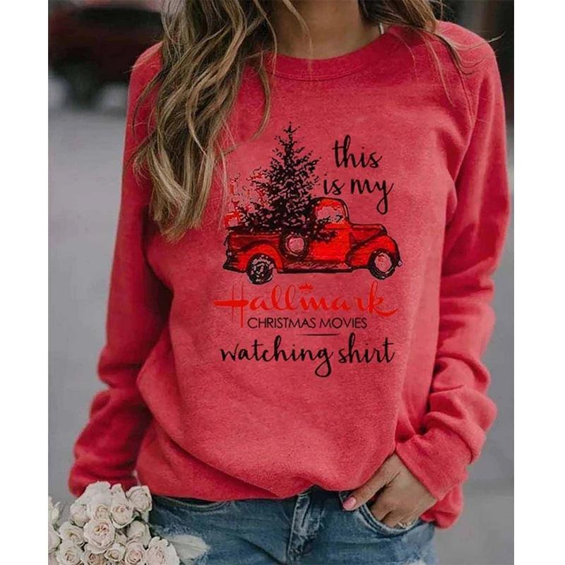 Women's printed Christmas sweatshirts Fall/winter long sleeve pullover tops