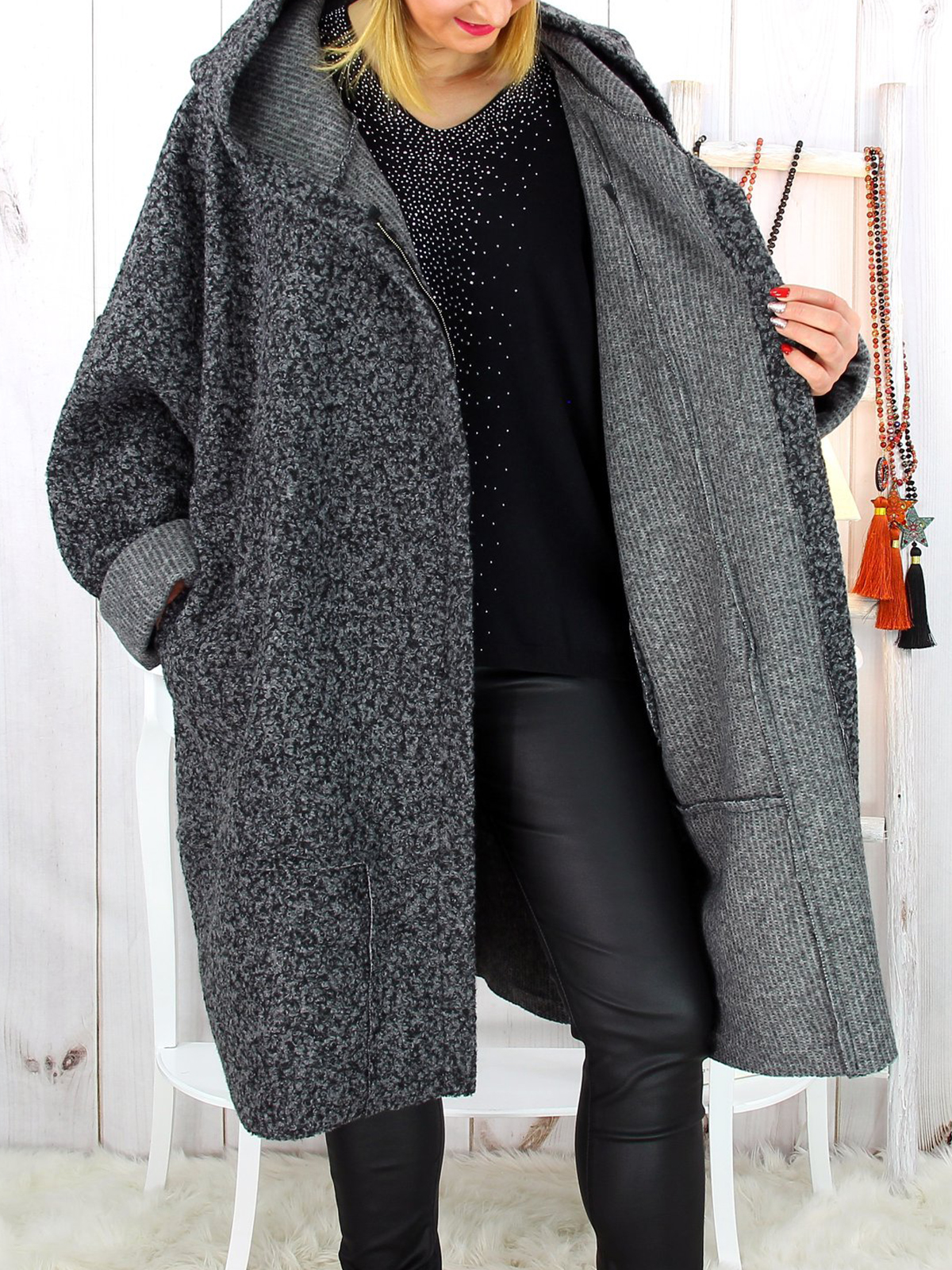 Casual Cotton,Polyester Long Sleeve with Overcoat(Plus Size)