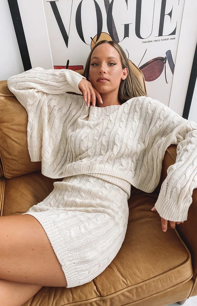 Sweater suit-Sexy short skirt,long sleeve top