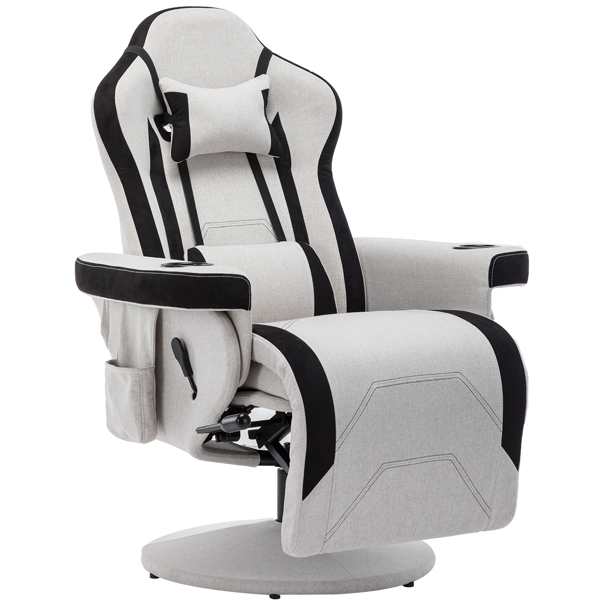 Reclining Gaming Chair-Adjustable Headrest and Lumbar Support