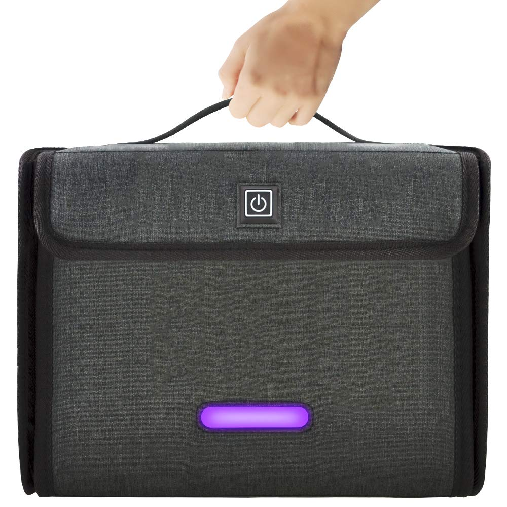 UV Light Sanitizer Bag, Foldable LED Ultraviolet Sterilization Box, Built-in 12 Real UVC Disinfection Chips Can Effectively Clean 99.99% Harmful Substance