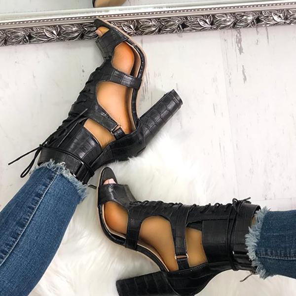 Faddishshoes Lace-up Cutout Chunky Heel Sandals