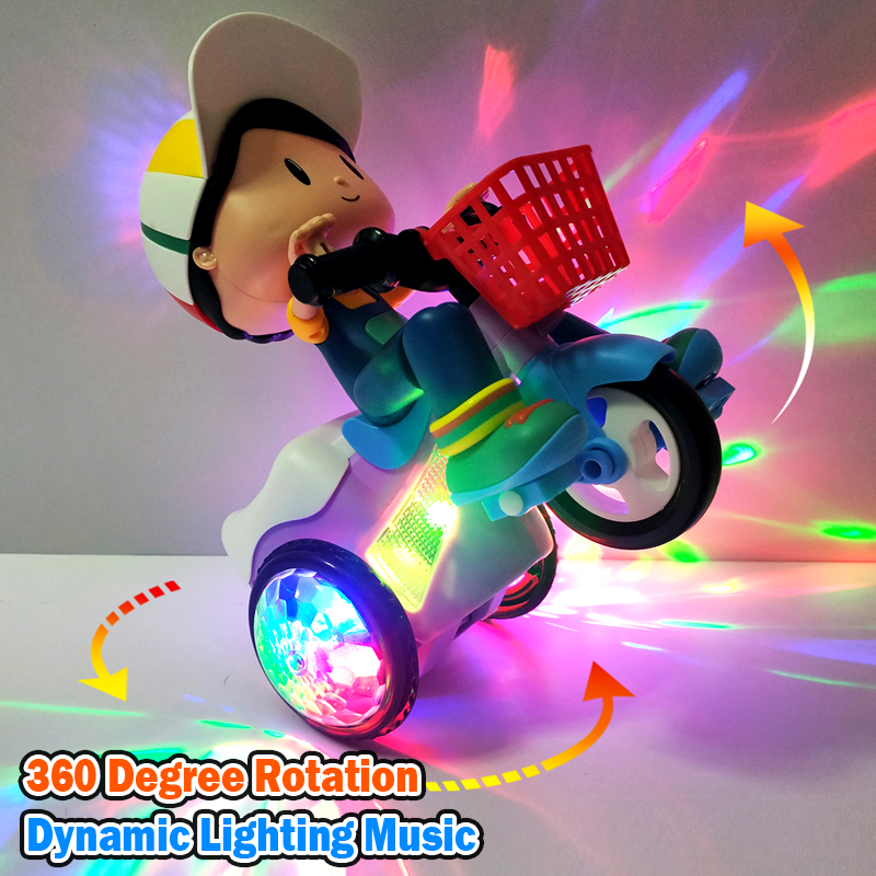 Motorcycle Toy for Kids Electric Tricycle Stunt car--buy 2 free shipping