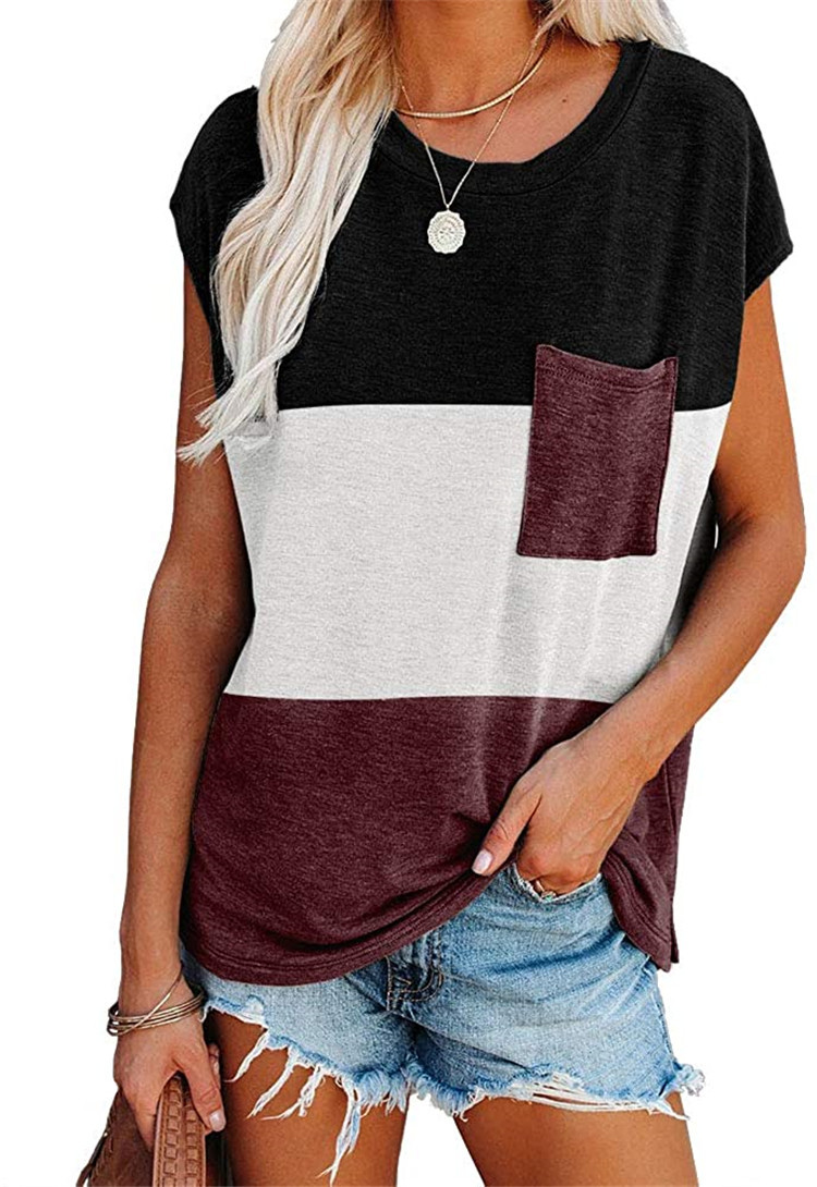 Women's Summer Casual Loose Fit Color Block Sleeve T Shirts