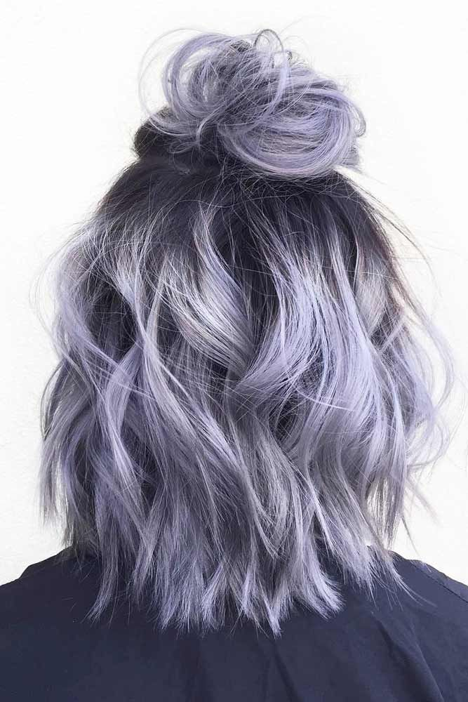 Gray Hair Wigs For African American Women Highlight Ash Grey Graying Temples Human Hair Bob Wigs Shades Of Grey Hair Color Royal Blue Wig