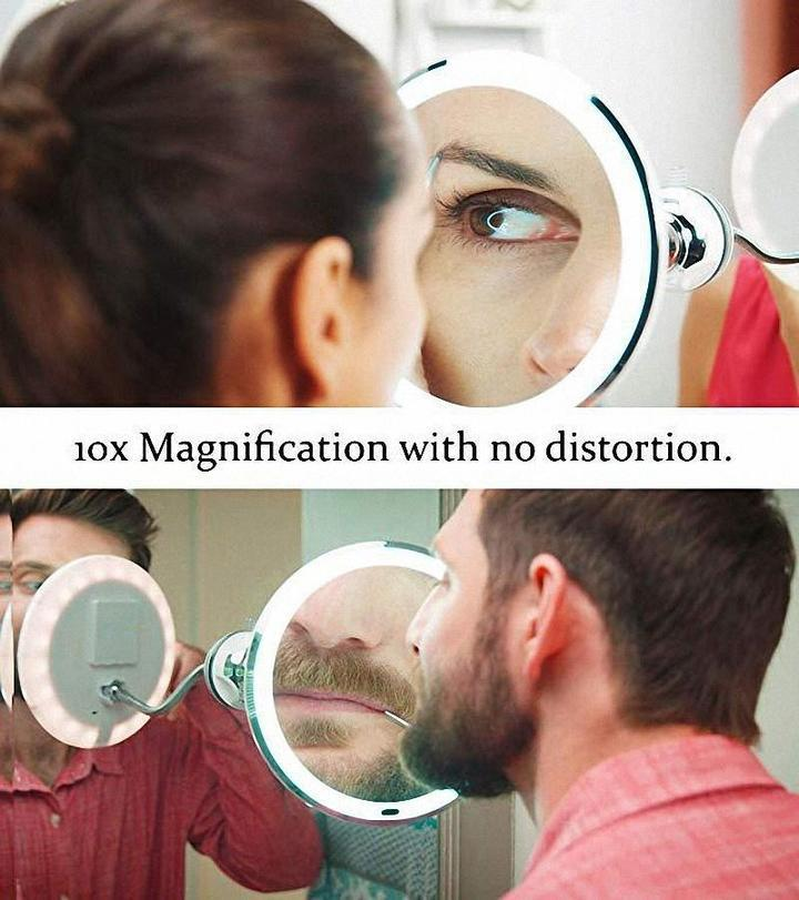 Flexible Light Up Mirror 10X magnification 360-Degree Rotating Makeup Mirror(Buy two free shipping)