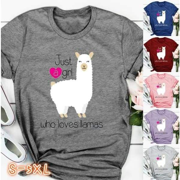 Funny Cute Alpaca Llama Graphic T-Shirt Women Summer Fashion Juat A Girl Who Loves Lamas Letter Print Casual Short Sleeve Tops Cotton Loose Tee O-Neck Sweet Brief Blouse Plus Size S-5XL 6 Color