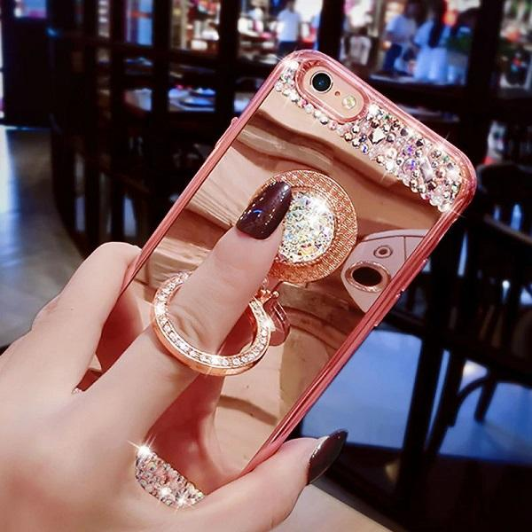Buy 2 Get 1 Free!!!>>>50% OFF Luxury Diamond Silicone Mirror Ring Case For iPhone&Samsung