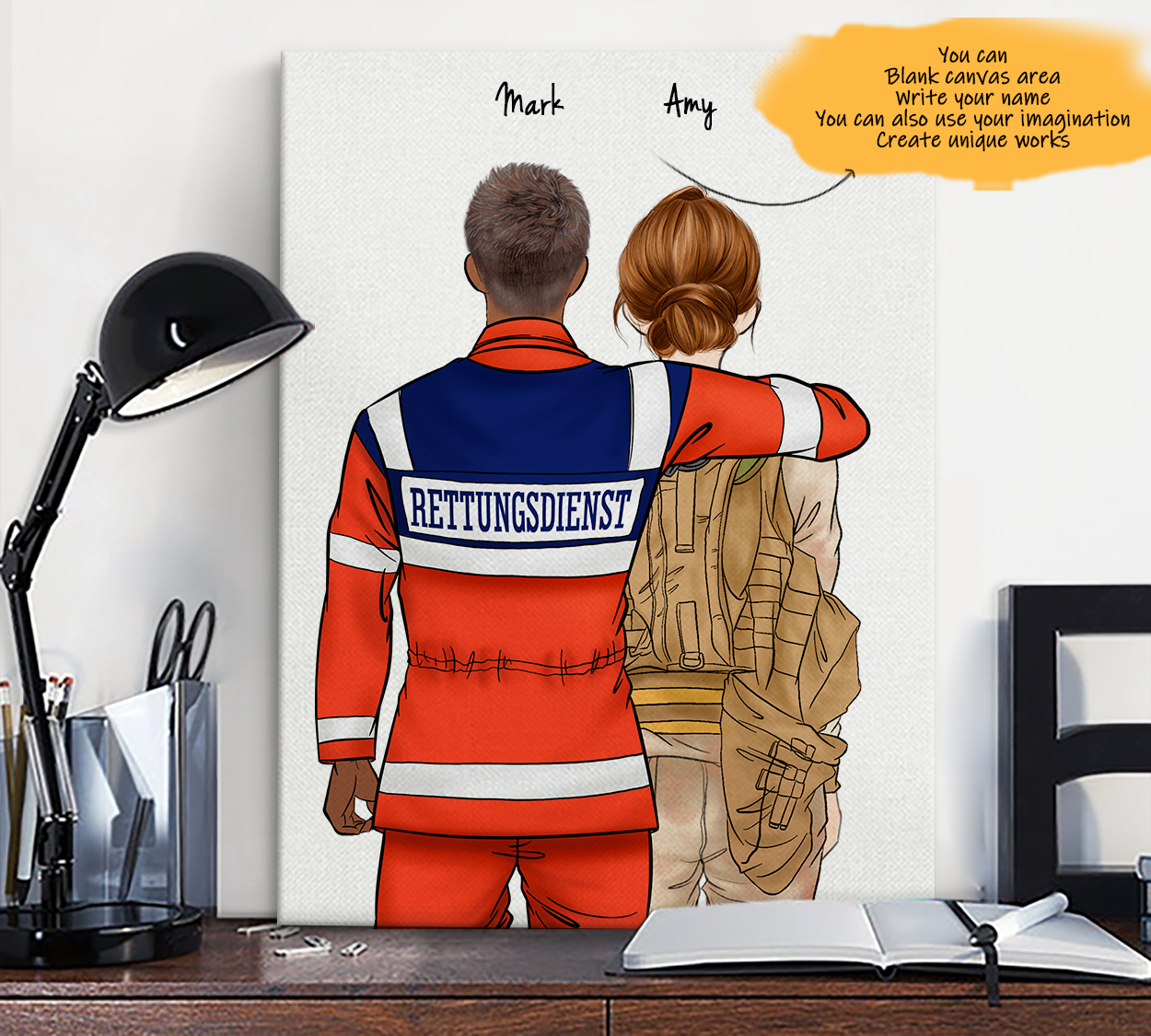 He is My Friend! Hand Draw Custom Canvas-Print Gift AmbulanceDriverGermany-Dark&Soldier1