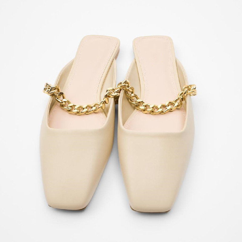 Women's PU Leather with Flat Slippers