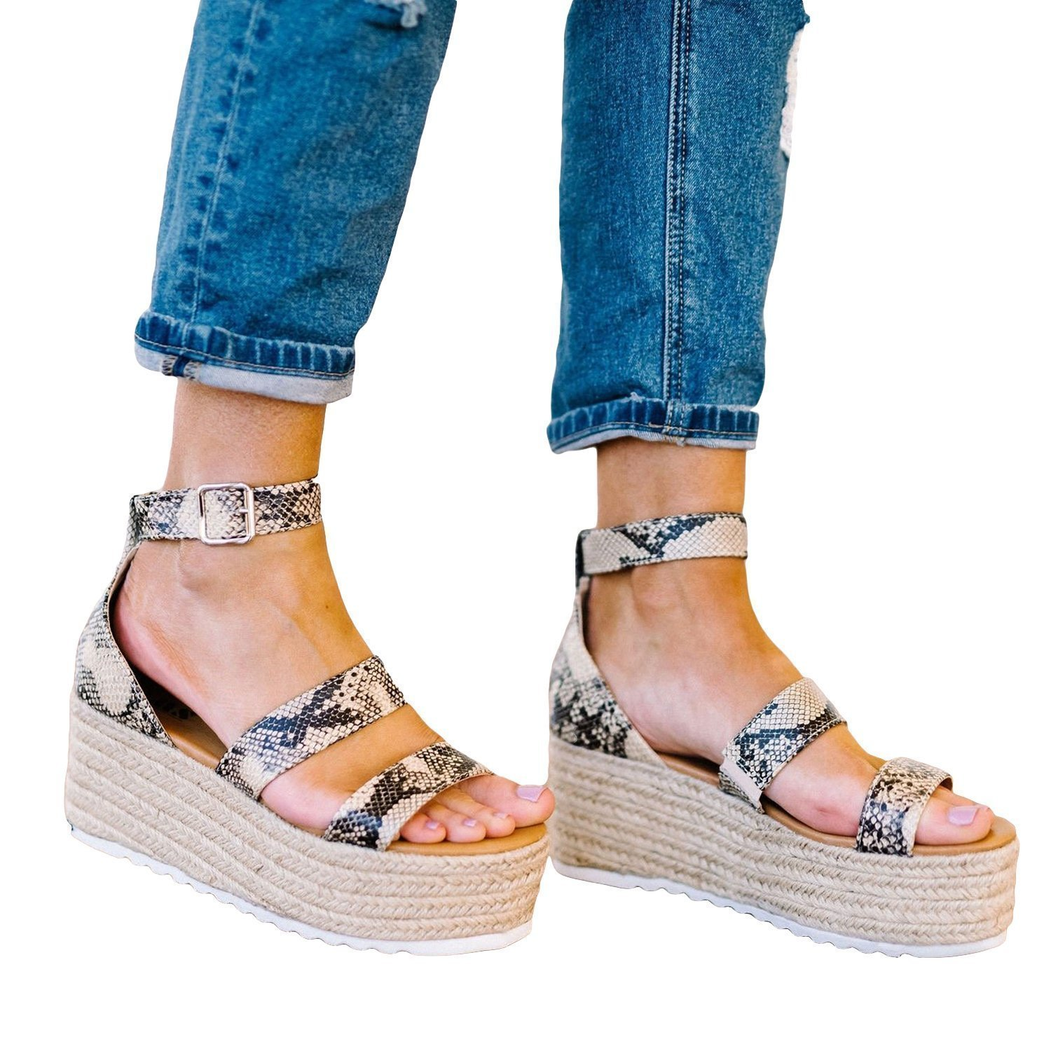 Faddishshoes Espadrille Open Toe Ankle Strap Platform Sandals (Ship in 24 Hours)
