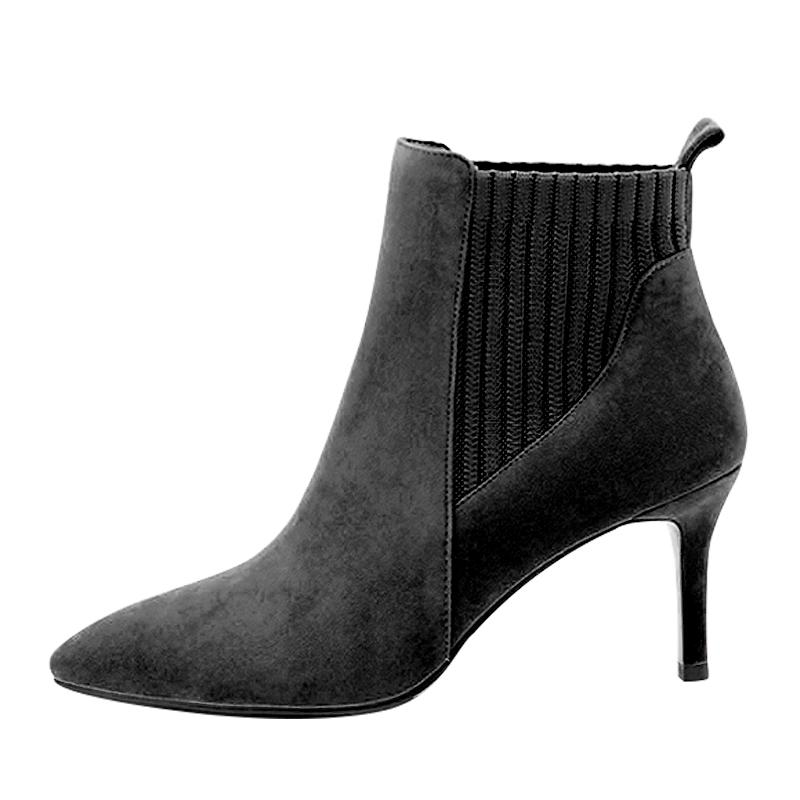 Stiletto knitted ankle boots