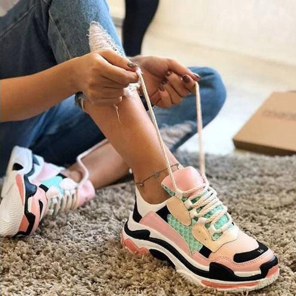 Lemmikshoes Thick Sole Lace-Up Mesh Casual Multicolor Sneakers