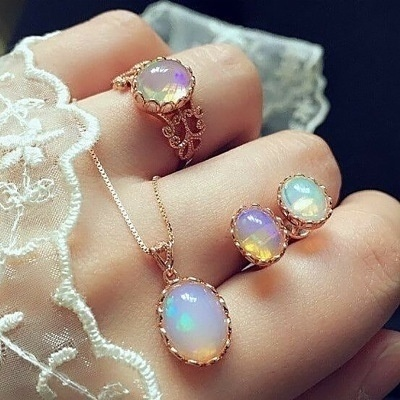 3 pieces / set of natural opal jewelry set crystal gemstone pendant necklace earrings ring set high jewelry
