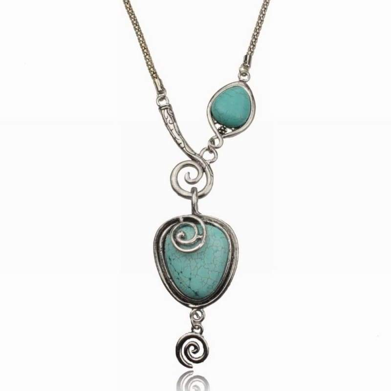 Nature Turquoise Vintage Charm Heart Bib Collar Statement Pendant Necklace (Color: Turquoise)