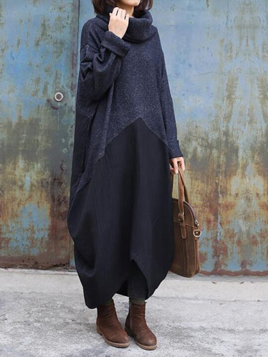 Fashion Solid Color Loose High Collar Dress