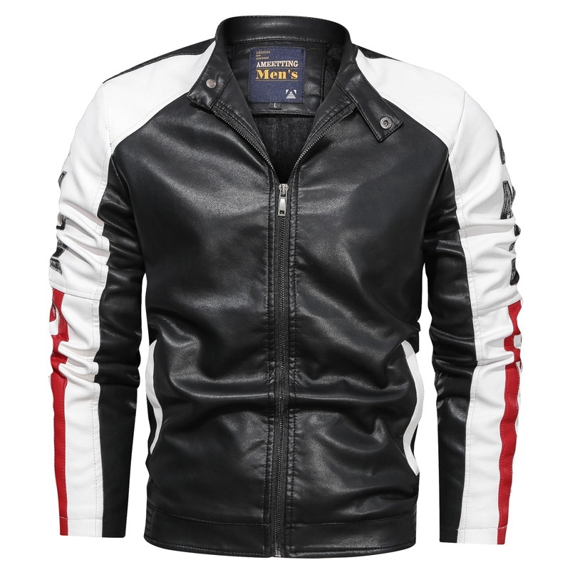 Men's Slim Color Blocked Motorcycle Jackets Cool Jacket