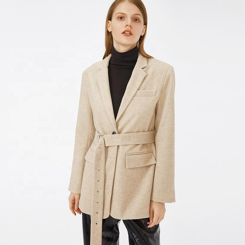 Western style simple design solid color office style ivory fashion belted blazers coat for woman-Casual Outwear 2.11