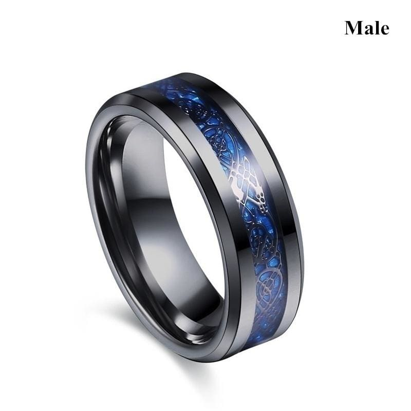 Rings Charm Couple Ring Stainless Steel Men's Ring Blue Color Sapphire Women's Wedding Ring Sets