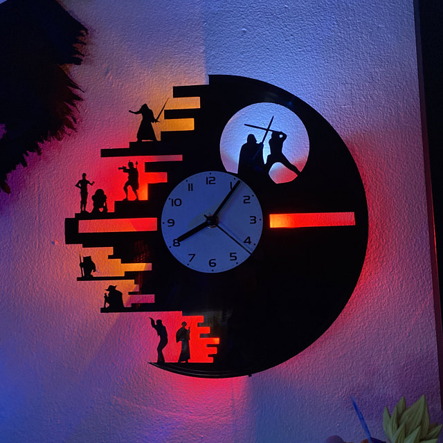 (FREE SHIPPING)Star wars vinyl record led light wall sconce