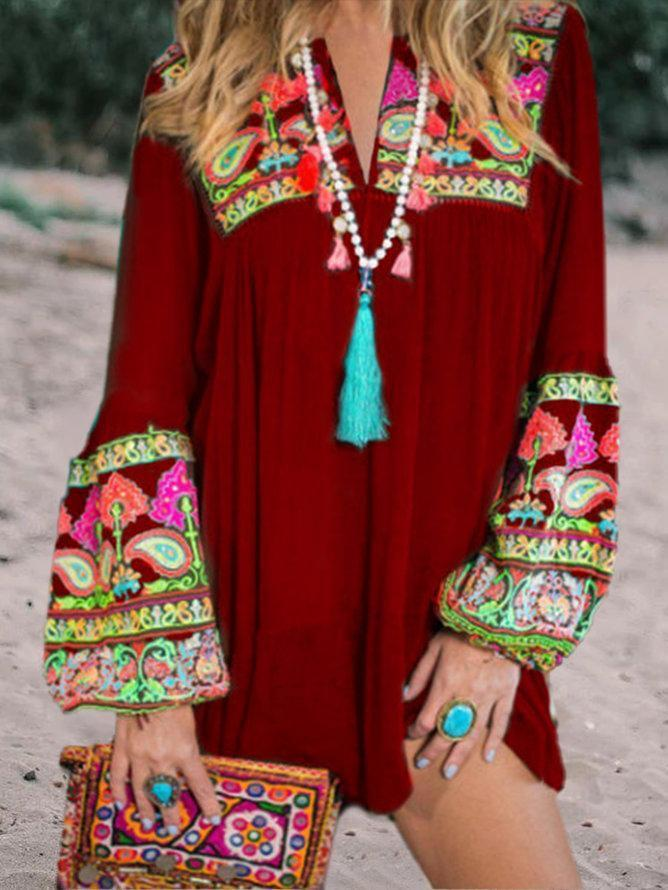 Women Bell Sleeve Holiday Patchwork Casual Dresses