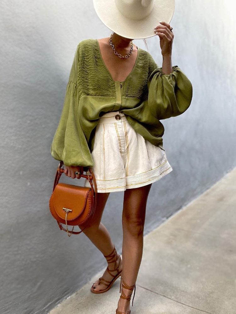 Solid Color Long-sleeved Casual Top