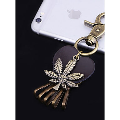 Keychain Leaf Heart Vintage Fashion Ring Jewelry Gold For School Holiday