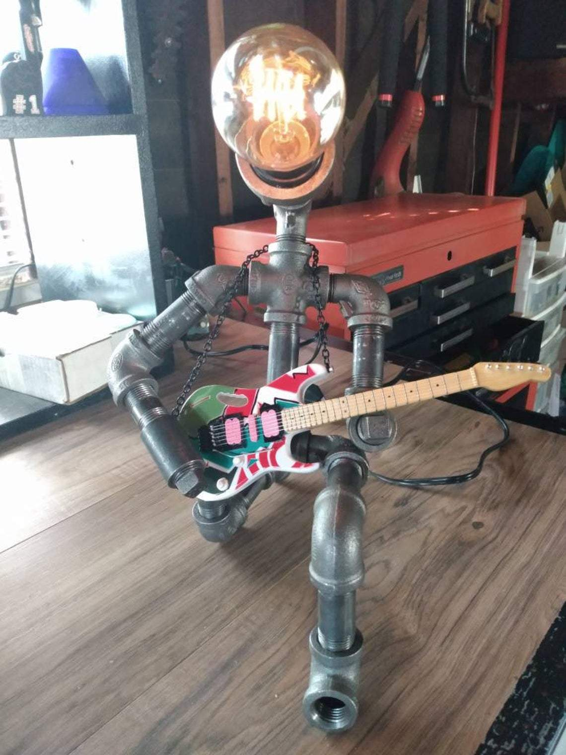 FATHER'S DAY SPECIAL 50% OFF!Metal And Hardcore Punk  Style Guitar Player Industrial Pipe Lamp