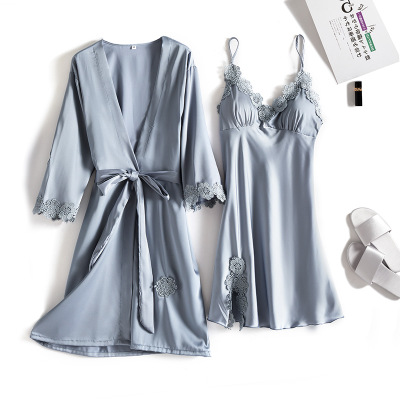 Spring and summer lace, ice silk, chest pad, two-piece nightgown sling