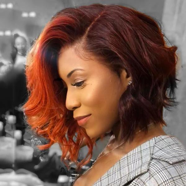 Light orange short wig-140%(Extra Thick As In Video)