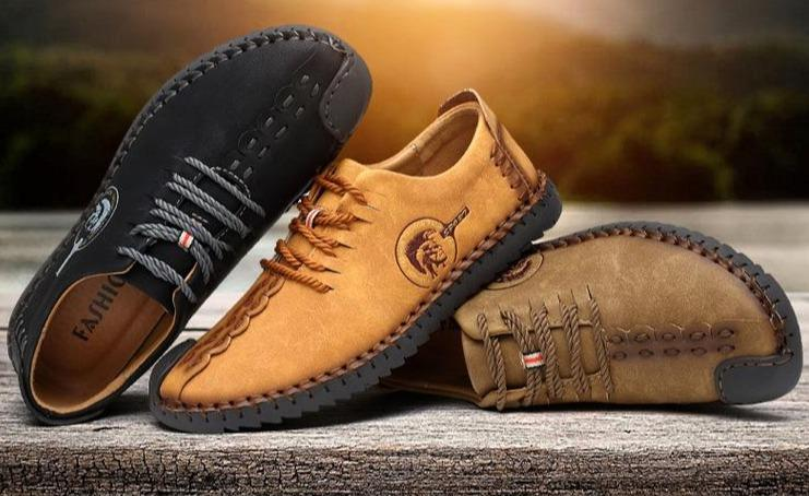 Mens lace-up ankle boots non-slip casual driving shoes for men