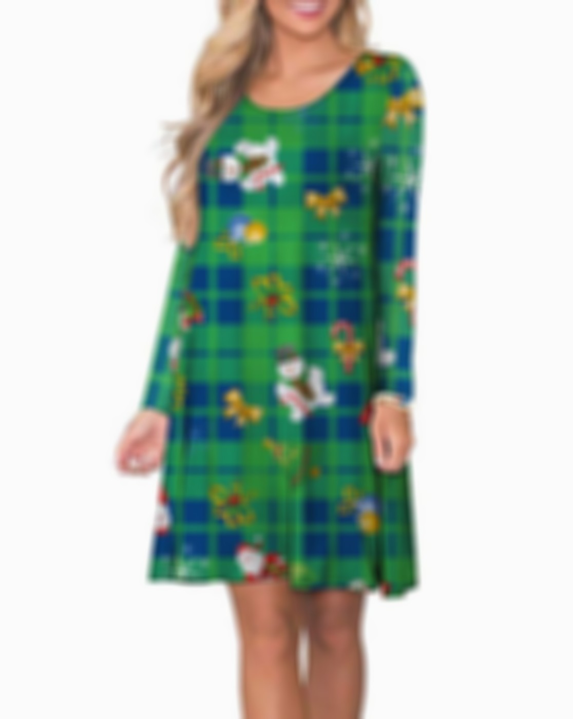Plaid Round Collar Christmas Print Women Midi Dress