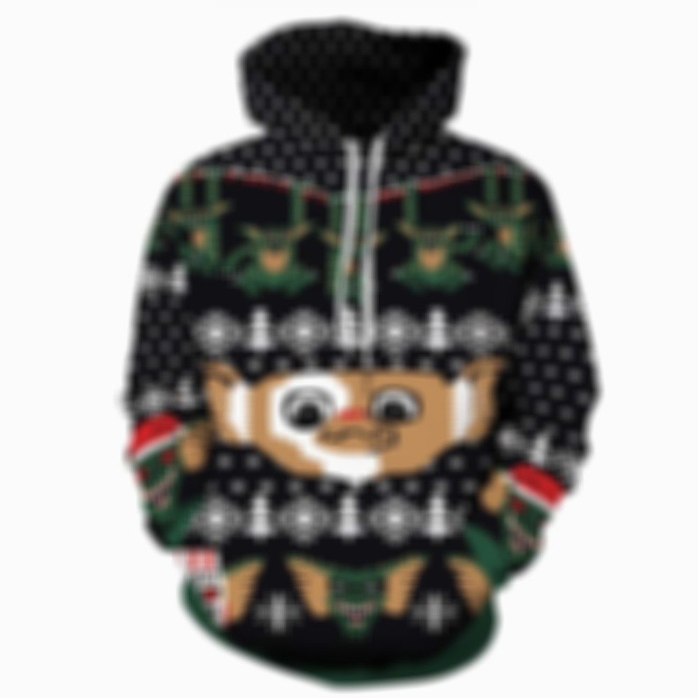 Pullover Lovely Cartoon Christmas Lovers Hoodie with Pockets