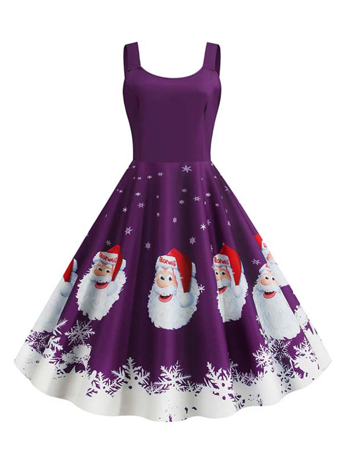 Arosetop  Women Christmas Dress - Santa Printed Fit And Flare Sleeveless Dress Plus Size